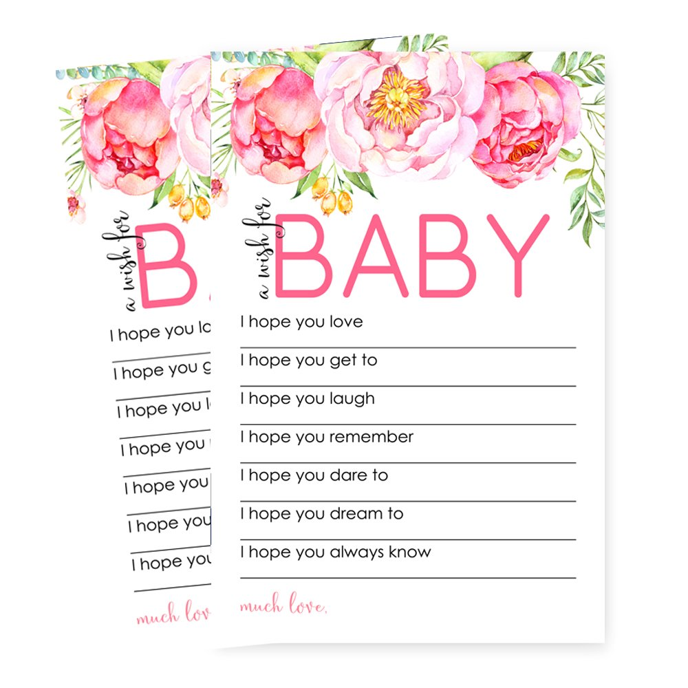 Cards Paper Clever Party Mod Floral Wishes for Baby Shower Game 20 pc