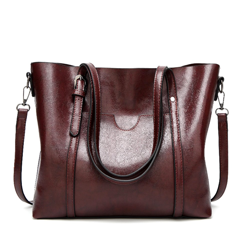 Mynos Women Retro Top Handle Satchel Handbags Shoulder Bag Occident Style Tote Purse (Brown)