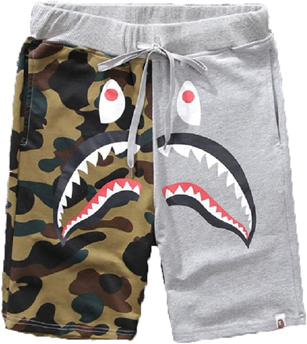 Big Mouth Shark Ape Bape Camo Mens Casual Sports Pants Fashion Jogger Shorts