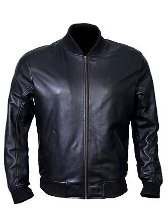 821b360c6 Bomber Jacket Men, Black Genuine Lambskin Leather Jacket for Men, Novelty  Style …