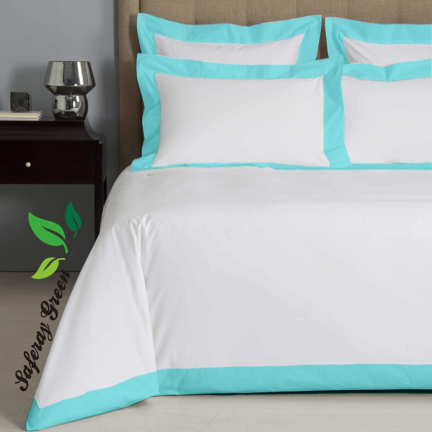 Hotel Luxury 3pc Two Tone Duvet Cover Set-850 Thread Count 100/% Egyptian Cotton Premium Bedding Collection Twin Size 68 x 86 Inches Machine Washable White /& Aqua
