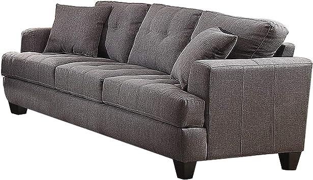 Amazon.com: Benjara Fabric Upholstered Wooden Sofa With Tufted Design, Gray: Furniture & Decor