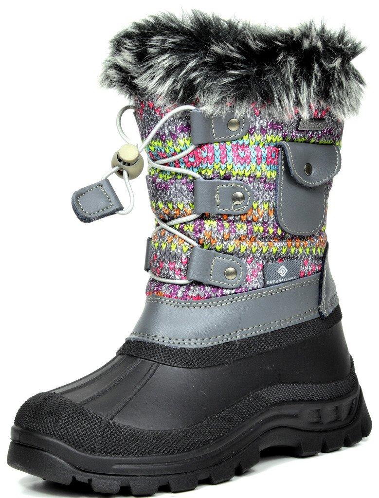 DREAM PAIRS Little Kid Ksnow Grey Multi Isulated Waterproof Snow Boots - 12 M US Little Kid