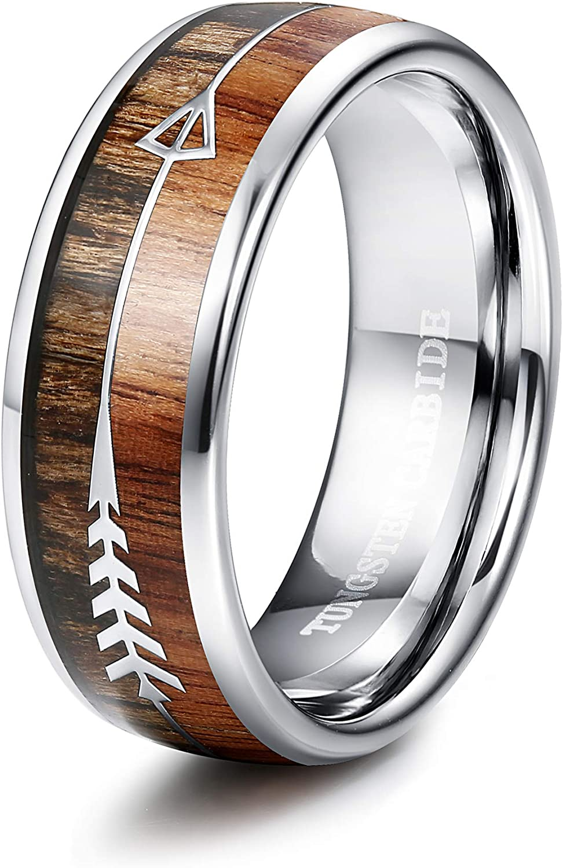 Tungary 8MM Arrow Tungsten Ring for Men Wedding Band Wood Ring High-Polish Finish Size 6-14