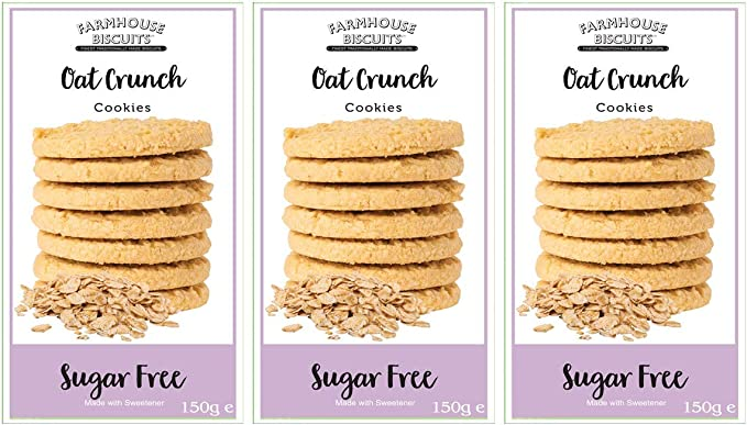 Farmhouse Biscuits Sugar Free Oat Crunch Cookies 150g 3 Pack Amazon Co Uk Grocery