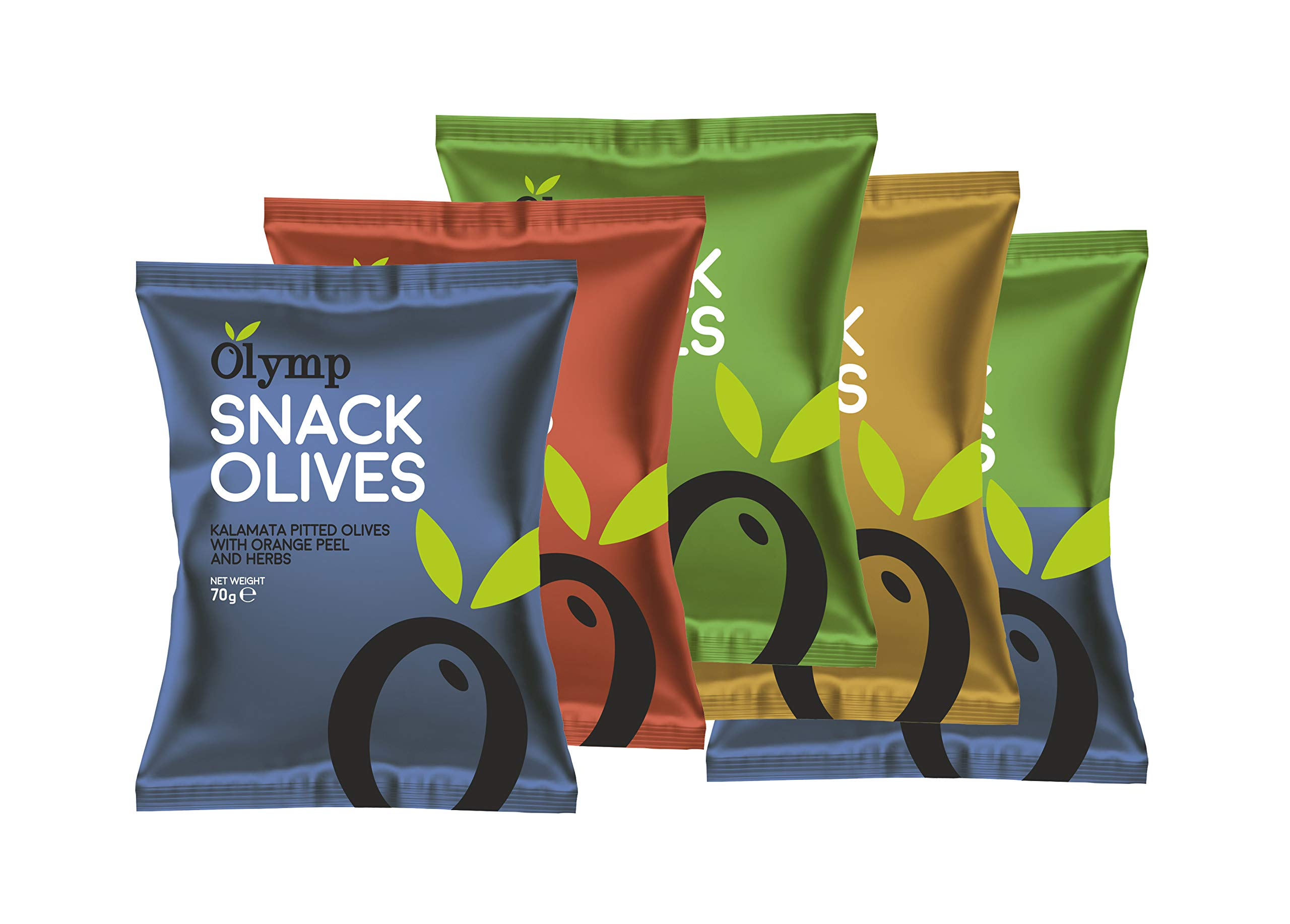 Greek Pitted Olives Variety Snack Multipack by Olymp   5 x 70 Grams