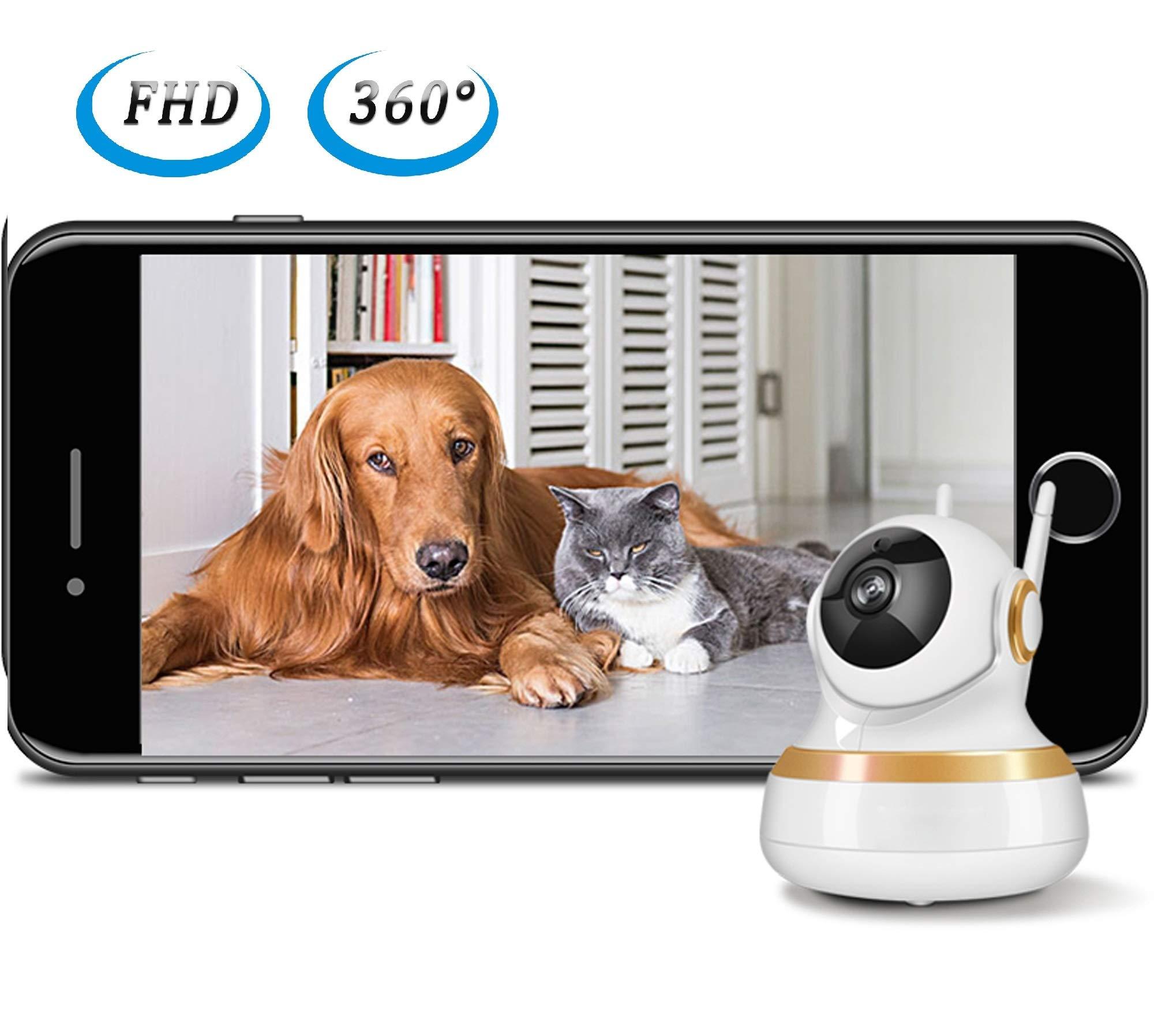 Vinsion HD 1080p Pet Camera,Dog Camera Pet Monitor Indoor Cat Camera HD Night Vision Two Way Audio and Motion Detection (Golden Rim) by Vinsion