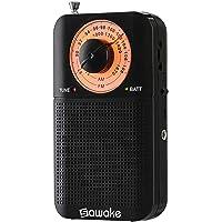 Taschenradio, AM FM Tragbares Stereo Radio mit Lautsprecher/ Kopfhöreranschluss/ Teleskopantenne, Superior Empfangsradios für den Notfall, Camping, batteriebetrieben