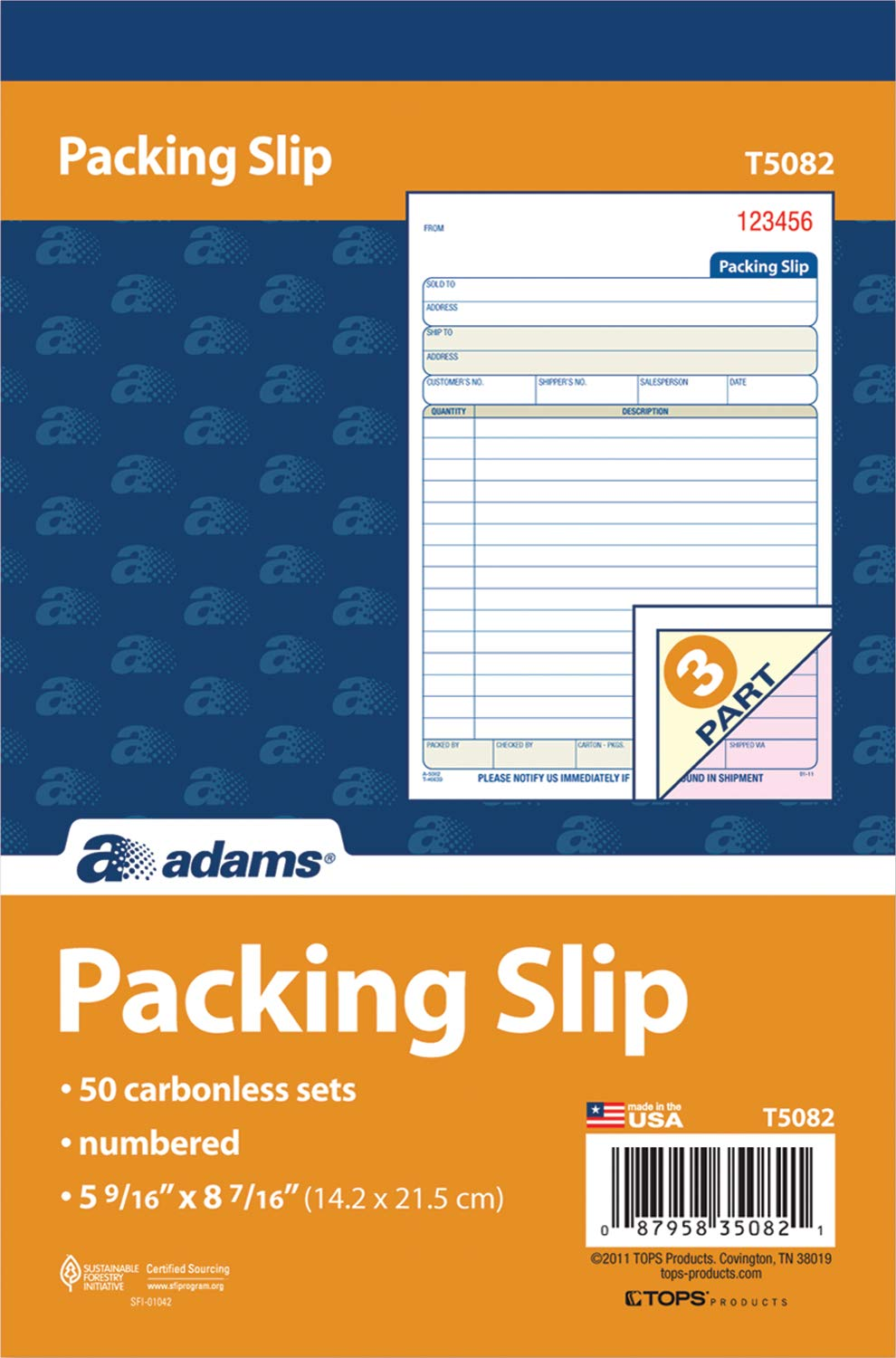 Adams Packing Slip Book, 3-Part, Carbonless, 5-9/16 x 7-5/16 Inches, 50 Sets per Pad (T5082)