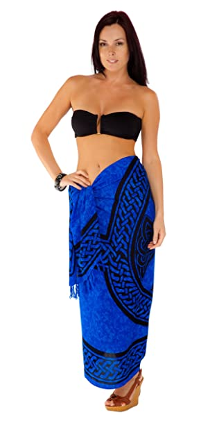 0a37891fa0 1 World Sarongs Womens Celtic Cover-Up Sarong Celtic Cross And Circle in  Blue