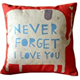 Amazon Price History for:CoolDream Animal Style Lovely Cartoon Red Elephant Pass Love Letters Sofa Simple Home Decor Design Throw Pillow Case Decor Cushion Covers Square 18*18 Inch Beige Cotton Blend Linen