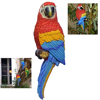 Baum Terrasse und Garten Deko perfeclan Papagei Ara Dekofigur f/ür Balkon Zaun
