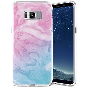 Kompatibel mit Samsung Galaxy S8 Plus H/ülle,Handyh/ülle Galaxy S8 Plus Case Rosa Marmor Muster Ultrad/ünn TPU Silikon H/ülle Schutzh/ülle Crystal Clear Silikon Bumper R/ückschale Case Cover,Design D