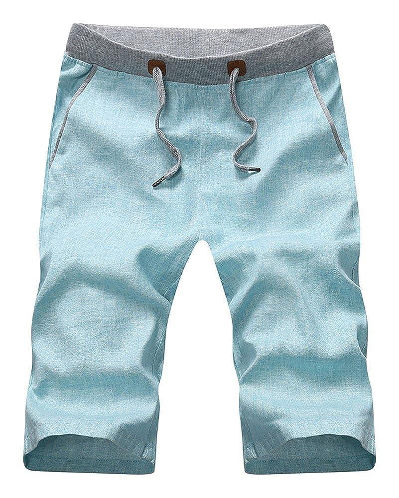 Plaid& Plain Men's Slim Fit Elastic Waist Drawstring Linen Shorts 03-SCG-M3038