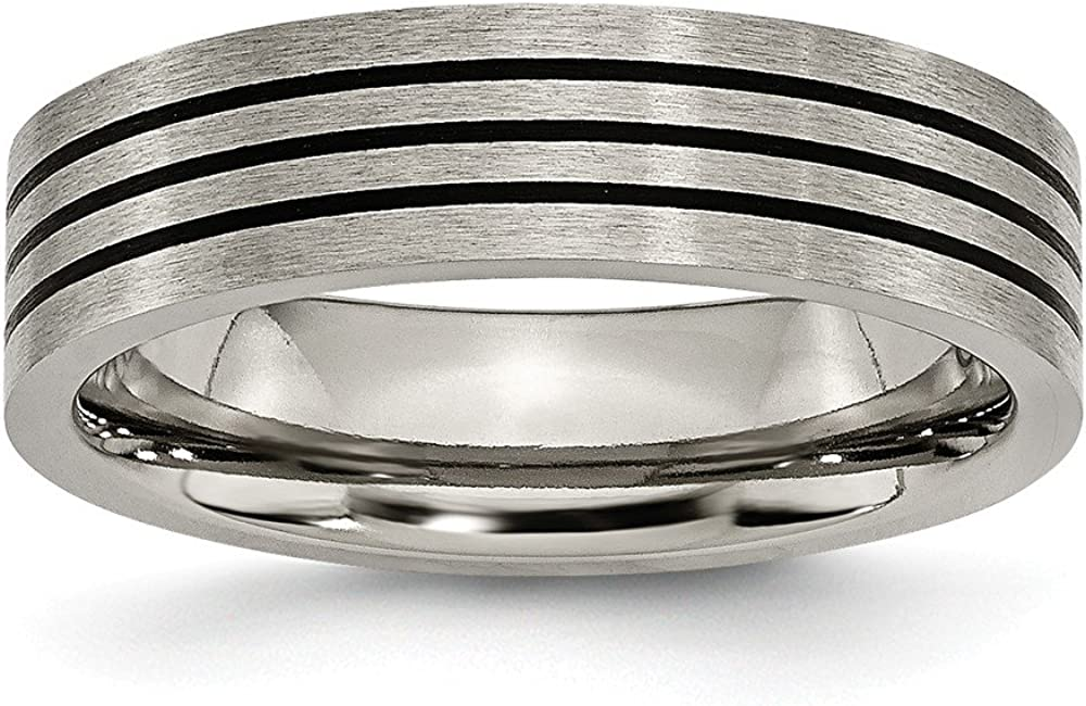 Size Titanium 8 Jay Seiler Titanium Brushed Enameled Flat 6mm Band