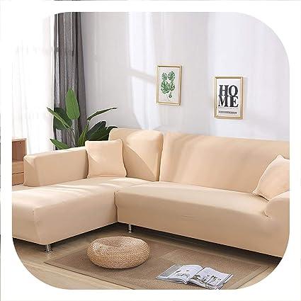 Amazon.com: New face L Shaped Sofa Cover Elastic Blue Sofa ...