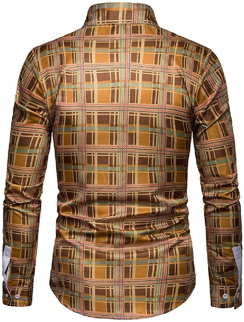 SayahMen Fitted Plus Size Bussiness Plaid Pattern Casual Long-Sleeve Dress Shirts
