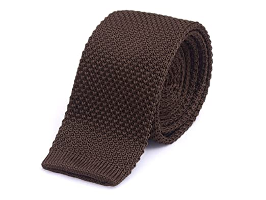 495ab5f51eef Knight - Knitted Flat Bottom Tie Brown: Amazon.co.uk: Clothing