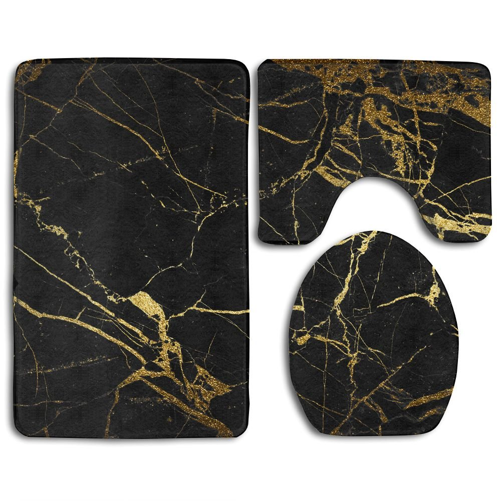 Black Gold Marble Bath Mat Bathroom Carpet Rug Washable Non-Slip 3 Piece Bathroom Mat Set Nicokee
