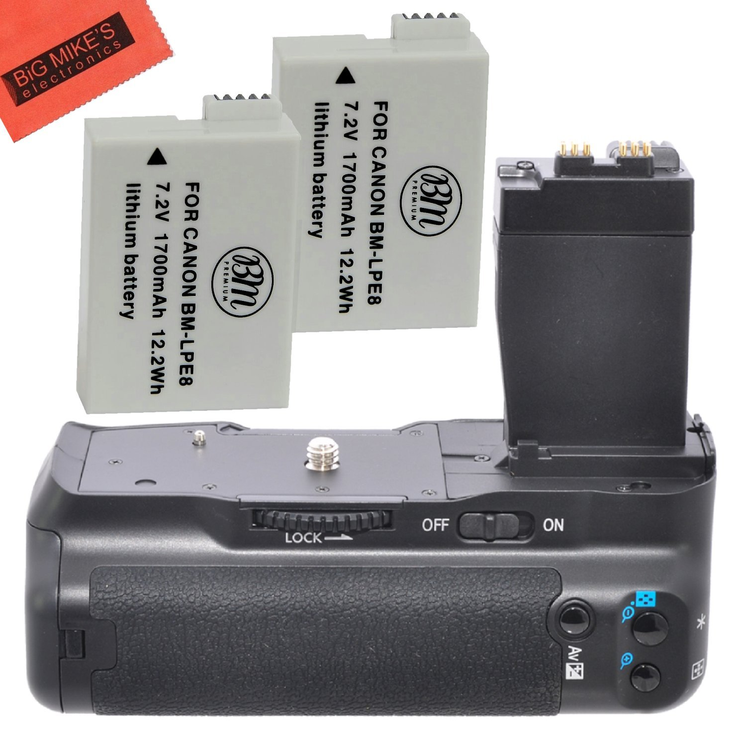 Battery Grip Kit for Canon Rebel T2i T3i T4i T5i Digital SLR Camera Includes Qty 2 Replacement LP-E8 Batteries + Vertical Battery Grip + More!! by Big Mike's