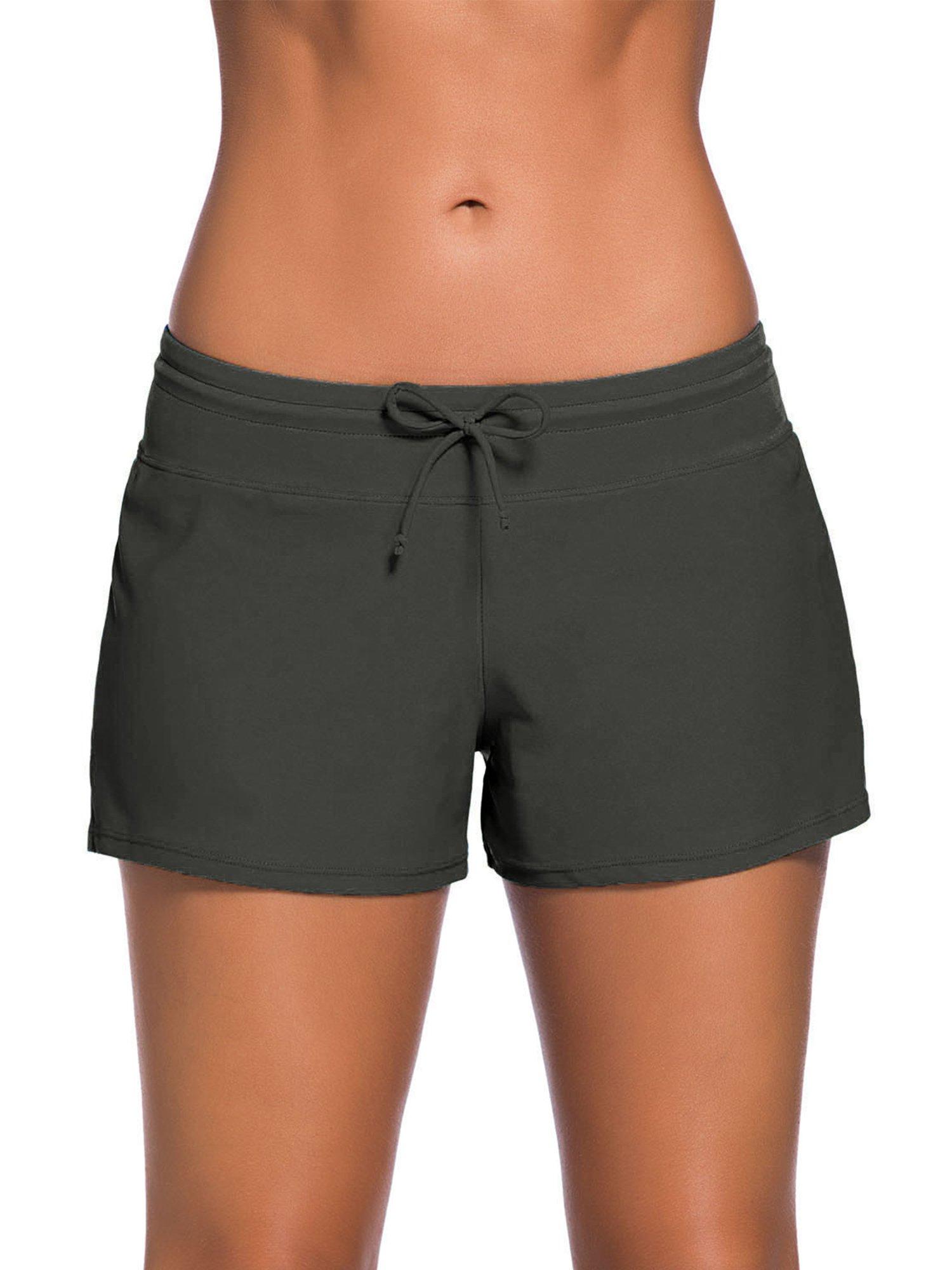 Satinior Women Swimsuit Shorts Tankini Swim Briefs Side Split Plus Size Bottom Boardshort Summer Beach Swimwear Trunks (S Size, Grey)
