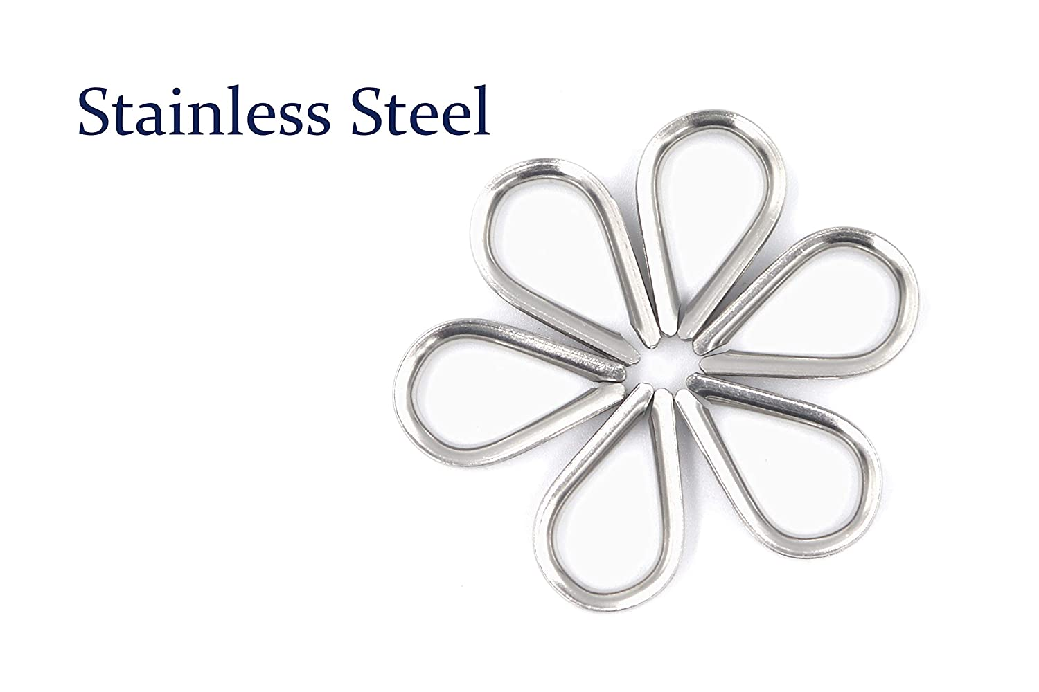 FGen 40pcs 304 Stainless Steel Rigging Hardware M2-24MM Steel Wire Rope Ring Triangle Ring Boast Protection