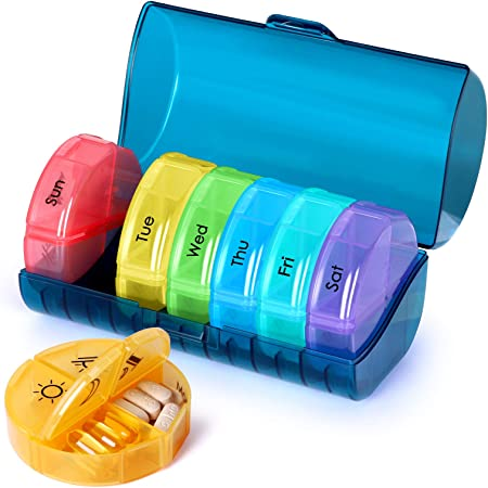 Super Large Weekly Pill Organizer 4 Times a Day, Pill Box with Outer Case, Pill Case for Travel,Weekly Pill Dispenser and Reminder(Emerald Green)