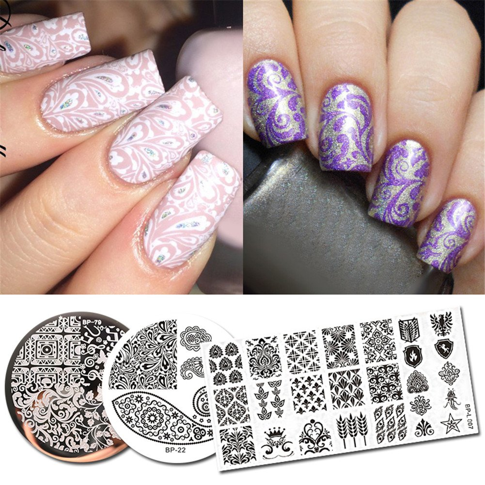 Born Pretty 3Pcs Stamping Plate Paisley Series Round Rectangle Nail Art Template Image Plate