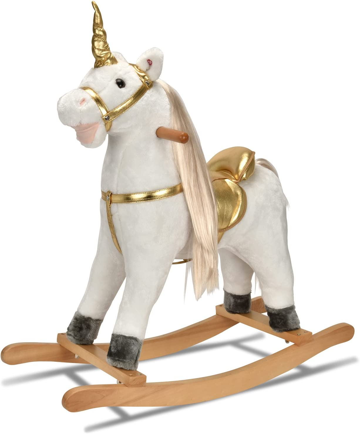 JOON UNICORN ROCKING HORSE, Designed with Soft Materials, Gold Detailing, Blond Hair with Gold Twisted Horn, Perfect for A Magical Adventure for Your Little One, Realistic Galloping Sounds, White-Gold