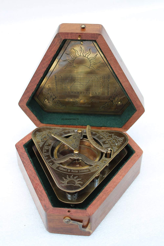 US Handicrafts History Brass Triangle Sundial Compass in Hardwood Box.