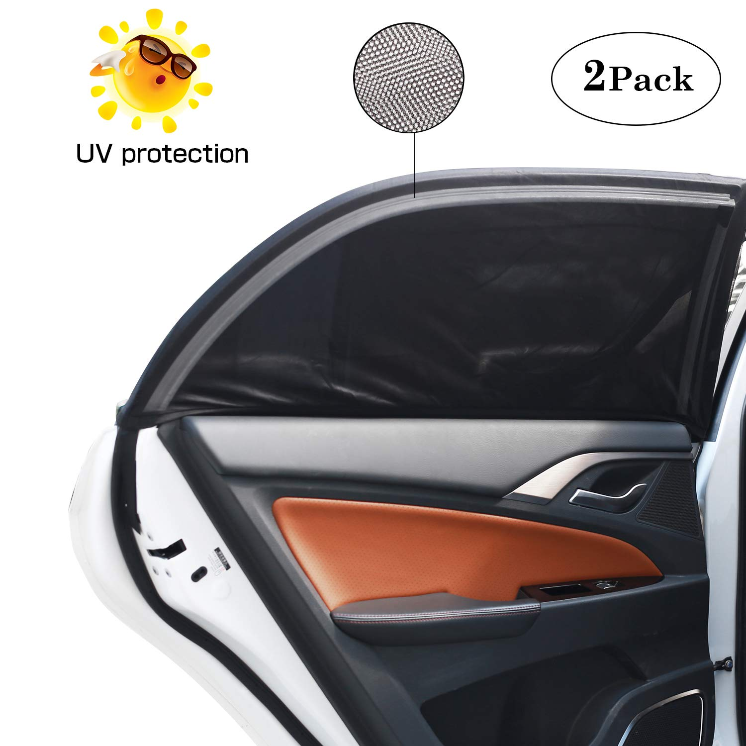 Car Window Shades Cover Car Side Rear Sun Shield Protect Your Baby, Child, Kids, Pet from Sun- Block UV Rays - Universal Car Curtains Breathable Mesh Fit Full Size Cars (L) bedee