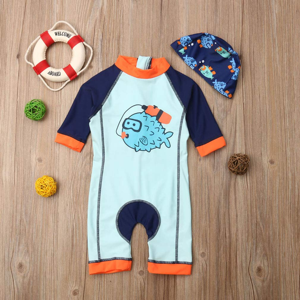Karuedoo Kids Baby Boy Striped Swimsuit One Piece Surfing Suits Beach Swimwear Rash Guard with Hat