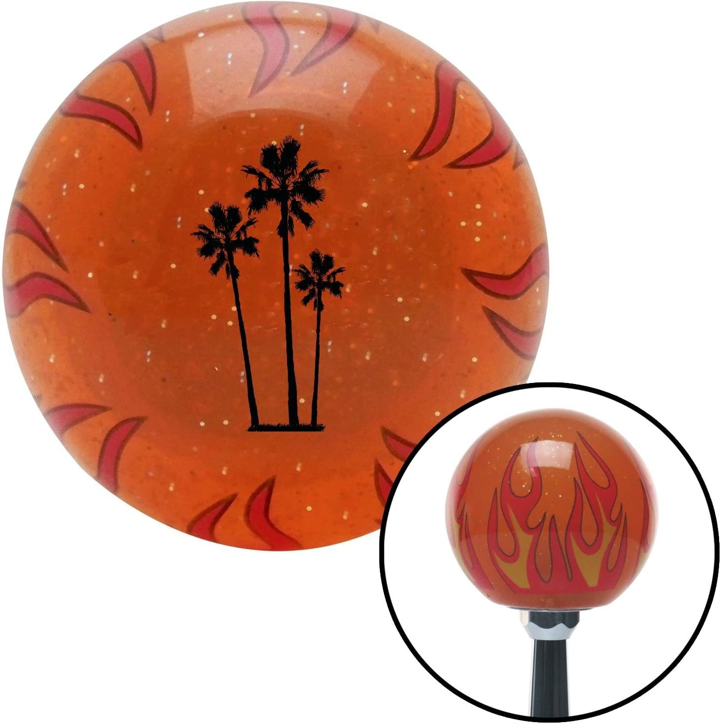 Black Group of Palms American Shifter 257437 Orange Flame Metal Flake Shift Knob with M16 x 1.5 Insert