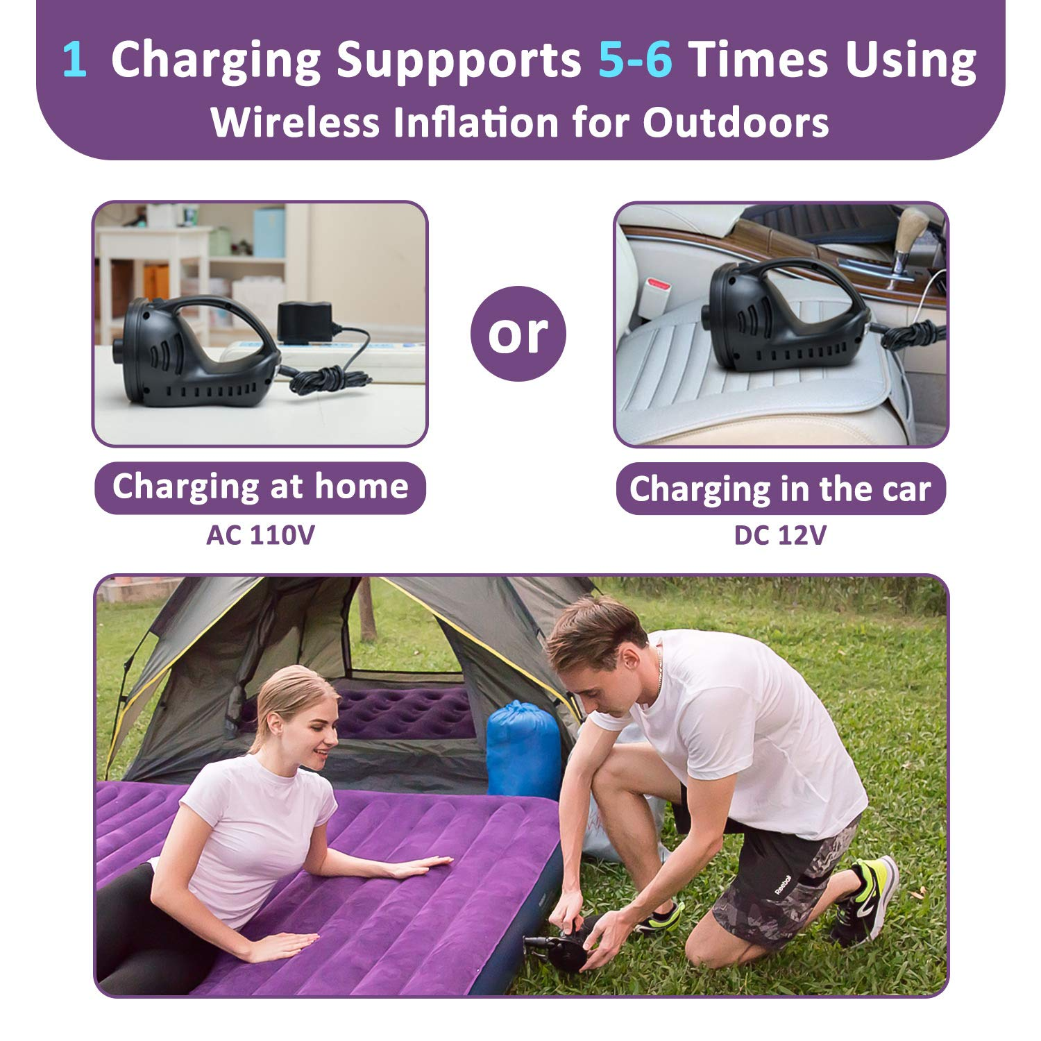 OlarHike Queen Air Mattress, Inflatable Single High Airbed for Guests, Blow up Raised Air Bed for Camping with Electric Air Battery Pump, Purple by OlarHike (Image #5)