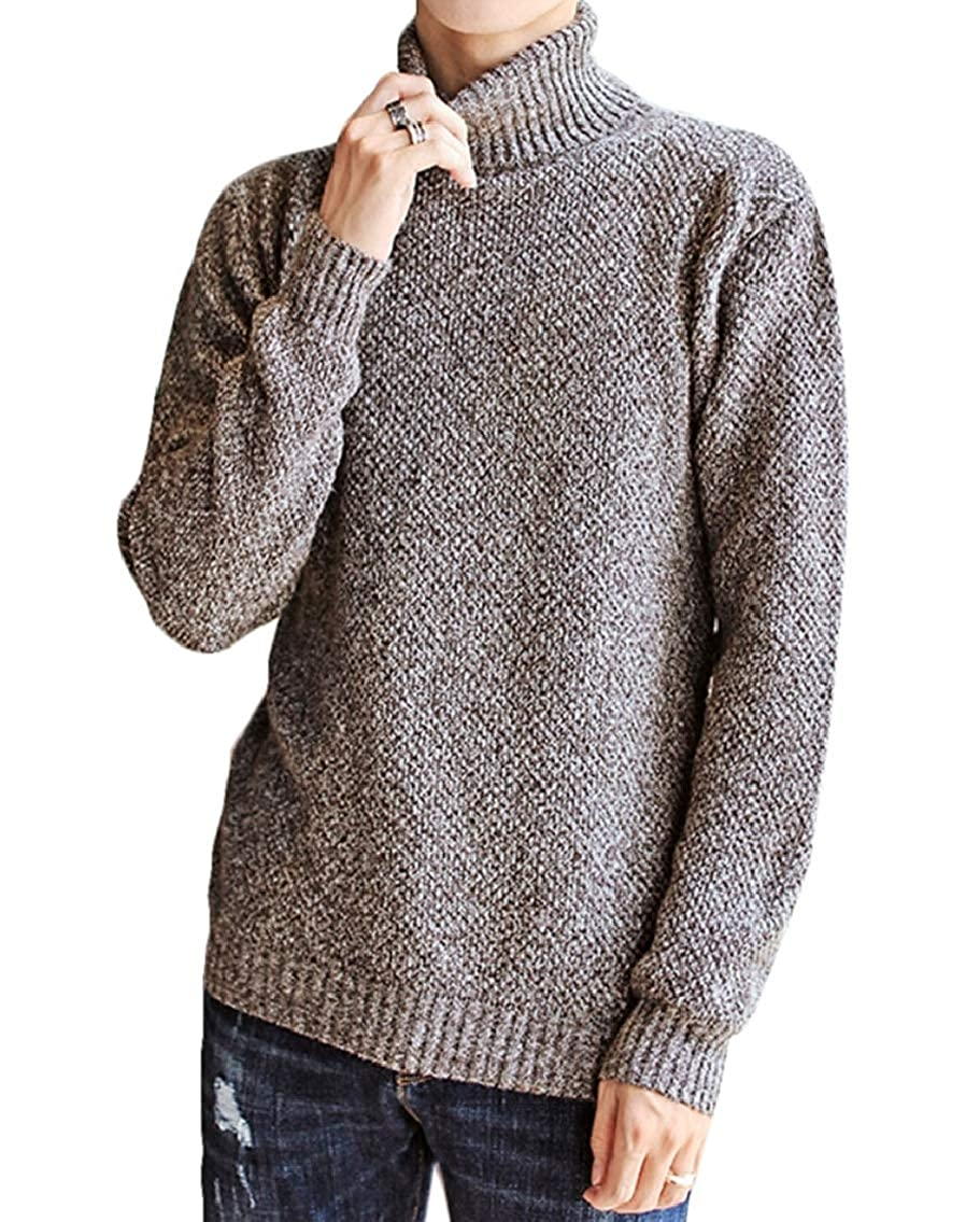 Keaac Mens Casual Slim Fit Knitted Turtleneck Pullover Long Sleeve Sweaters