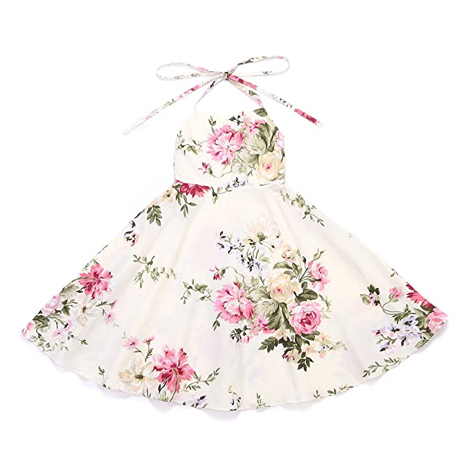 4c064d376f Flofallzique Floral Girls Dress Vintage Toddler Dress Birthday Baby Girls  Summer Party Dress(Cream