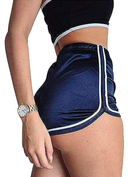 Minetom Damen Mode Sommer Sport Hot Shorts Sexy Samt Hosen Yoga Tanz Joggen  Elastische Trainingshose Active Hohe Fitness Taille Leggings Sporthose  ... 161f97f1db