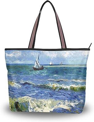 Women Large Tote Top Handle Shoulder Bags Whale Sky Satchel Handbag