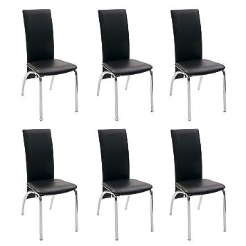 Pack de 6 sillas de Comedor Andros, tapizadas Polipiel y Patas cromadas (Negro): Amazon.es: Hogar