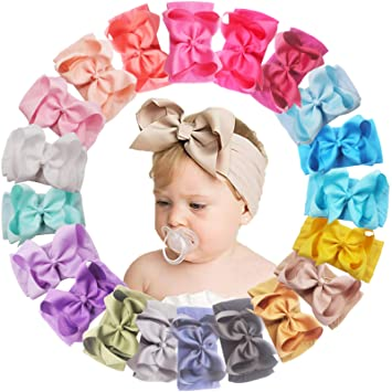 Soft and Stretchy Baby Signature Bows Newborn Custom Bow Size Big Bows on Nylon Headbands Toddler ROSE GOLD Metallic Headwrap