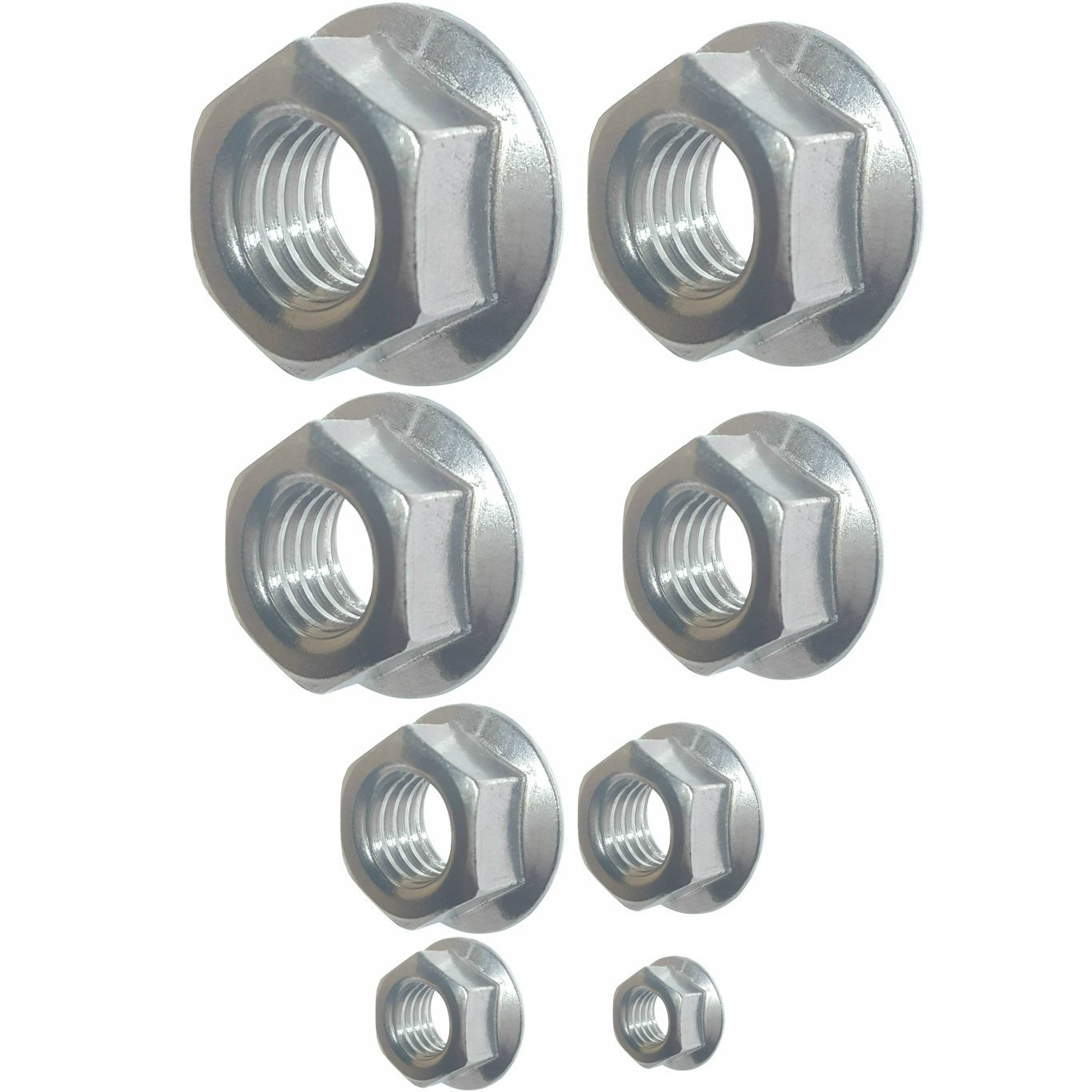 600 Pieces! 1//4 5//16 3//8 7//16 1//2 Serrated Hex Flange Lock Nut Assortment