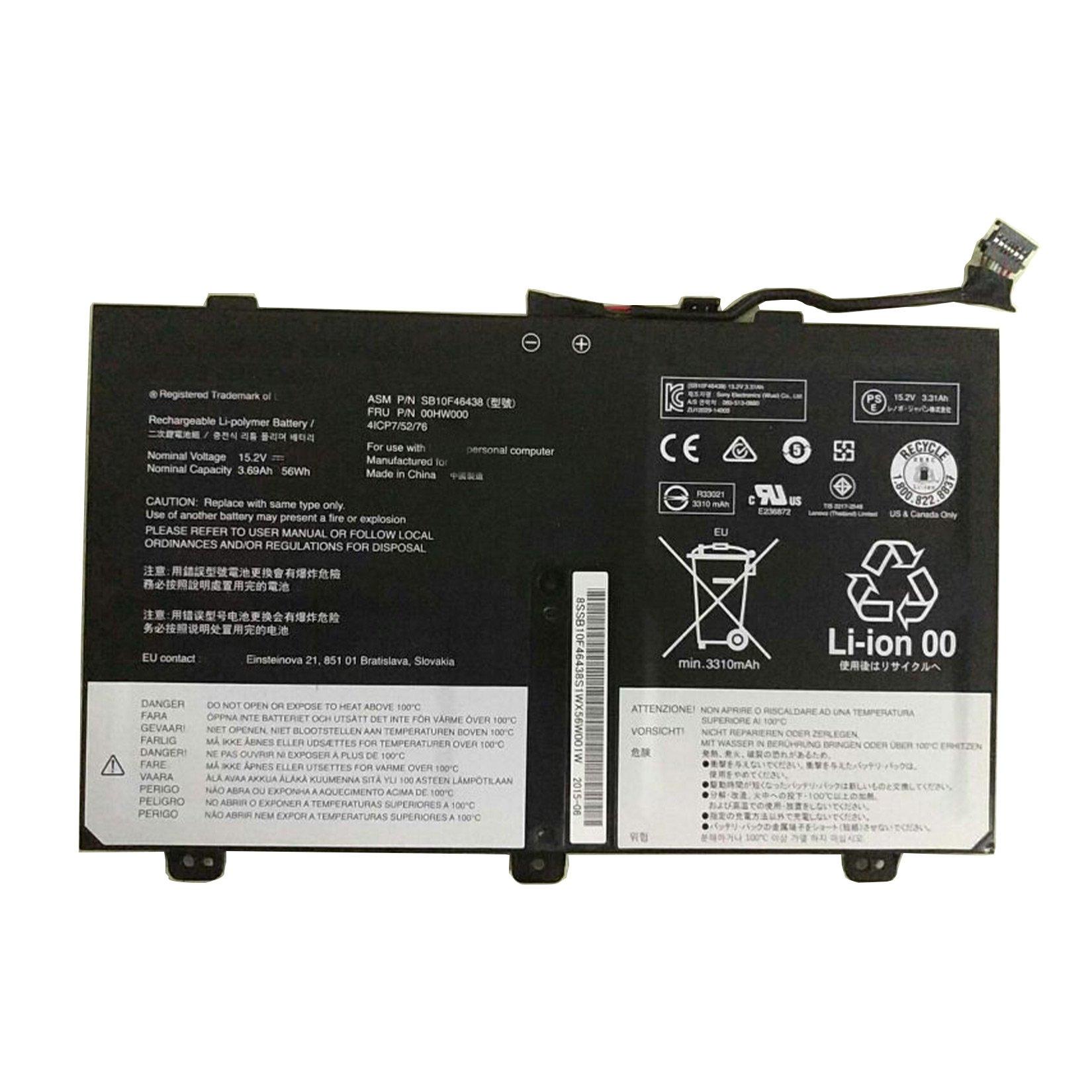 Bateria Dentsing 00hw000 /00hw001 Para Lenovo Thinkpad S3 Yoga 14 Sb10f46438 4icp7/52/76