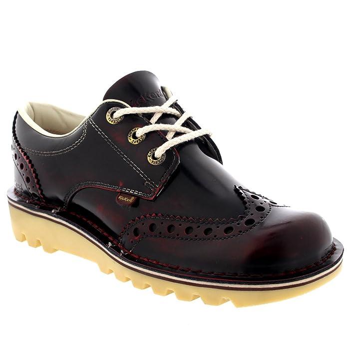 Hombre Kickers Kick Lo Brogue Shiny Cuero Atada Trabajo Oficina Zapato - Negro - 46 NhbYfVnxo