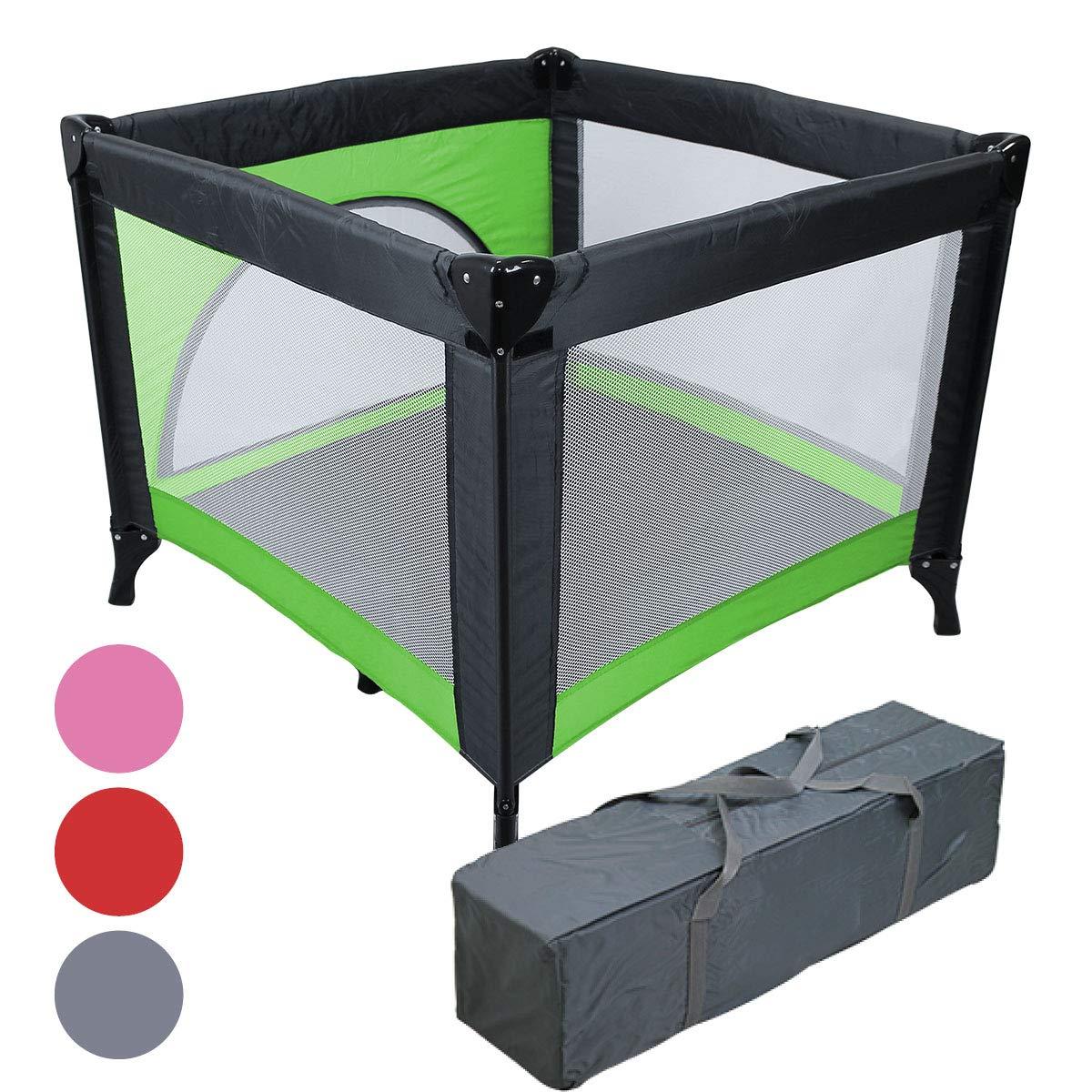 Monsieur Bébé ® Parc pliable 90cm x 90cm avec Matelas + Sac de transport - Trois coloris - Norme NF EN12227 - Vert product image