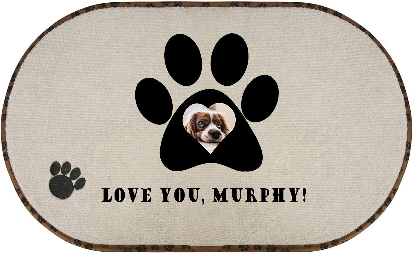 SETSBO Personalized Dog Mats for Food and Water, Non-Slip Custom Pet Feeding Mat with Photo/Text