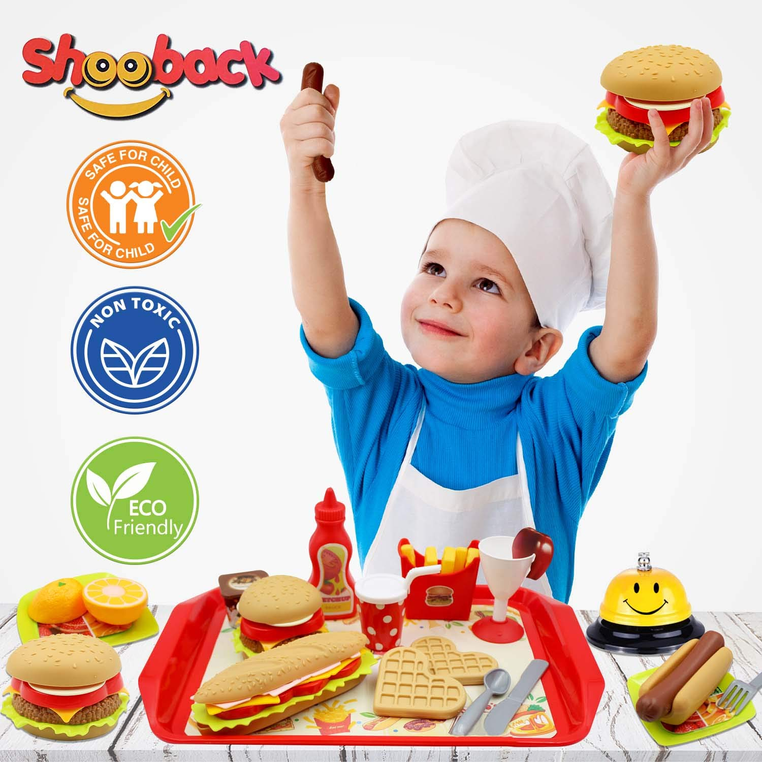 Shooback Play Kitchen Accessories, Pretend Kitchen Sets Kids Play Food, Children Toy Food Play, Fake Food for 3,4,5,6,7,8 Year Old and Up, Gift Game for Girls, Kids, Toddlers with Smile Dinner Bell