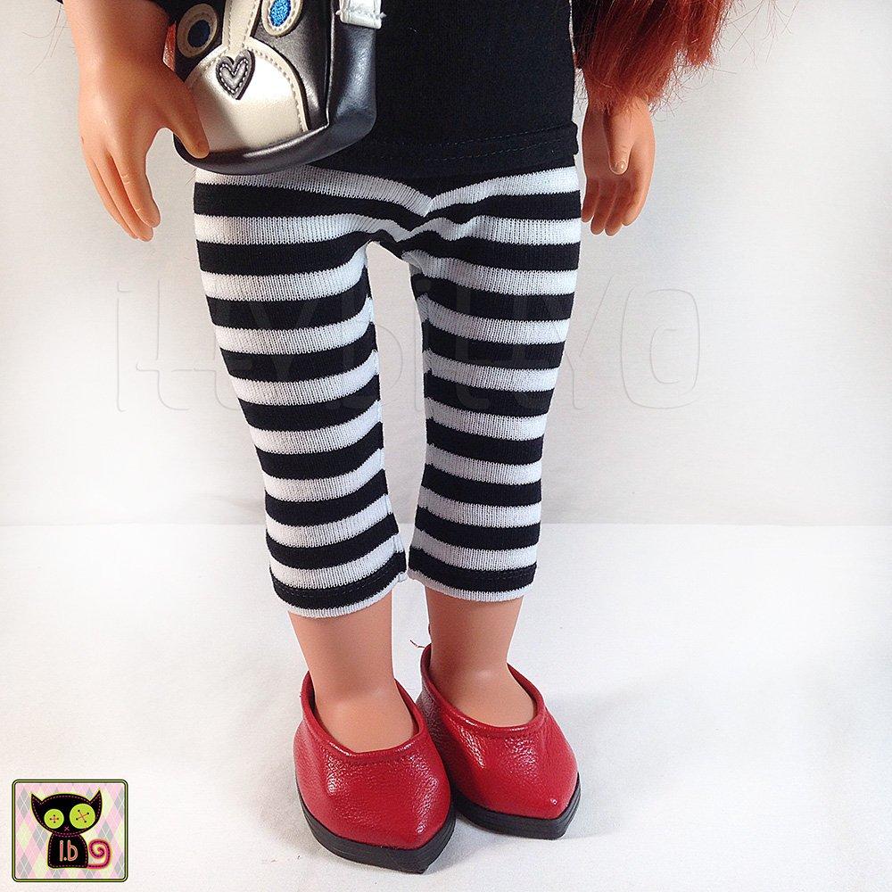 Black & White Striped Leggings for 18 Inch Dolls