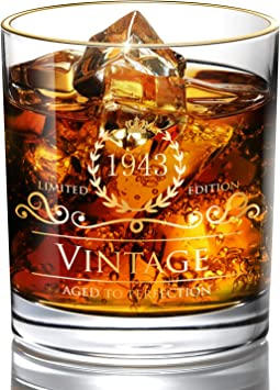 1980 40th Birthday//Anniversary Gift for Men//Dad//Son Vintage Unfading 24K Gold Hand Crafted Old Fashioned Whiskey Glasses Perfect for Gift and Home Use Party Decorations 10 oz Bourbon Scotch