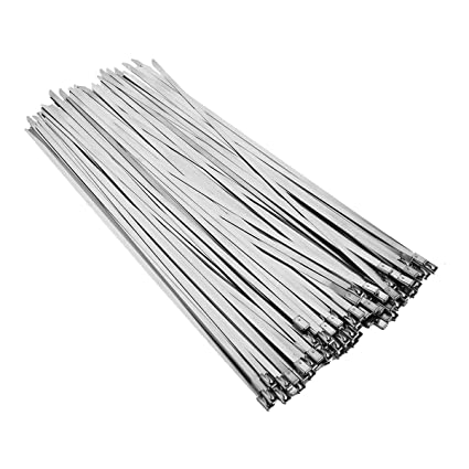 "43102860bc14 Image Unavailable. Image not available for. Color: TG888 Coated Metal  Locking Cable Zip Ties 304 Stainless Steel 12"" Exhaust Wrap ..."