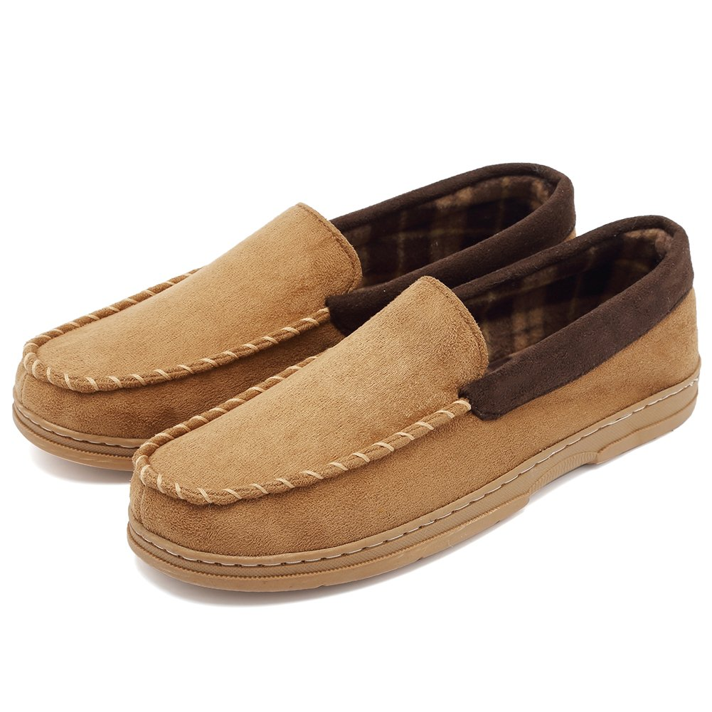 85f9f81f3ea CIOR Fantiny Men s Casual Memory Foam Pile Lined Slip On Moccasin Flats  Slippers Micro Suede Indoor ...